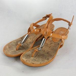 NICKELS Nile Orange Vegan Leather Wedge Sandals